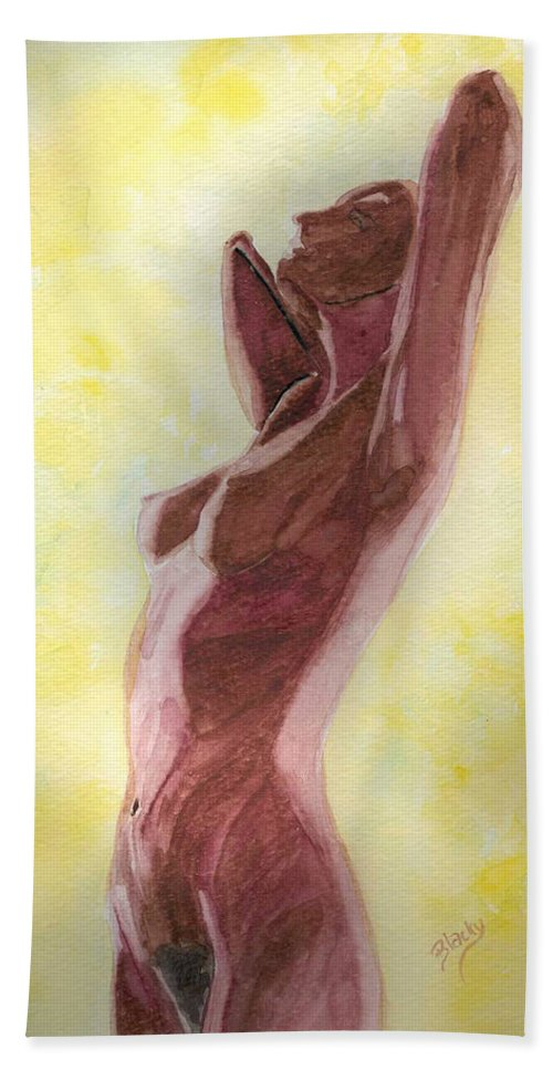 Woman Hand Towel featuring the painting Mysterious Woman by Donna Blackhall
