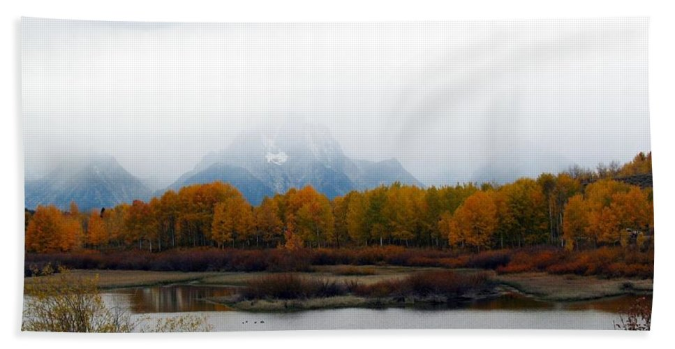 Fall Hand Towel featuring the photograph Mystic Grand Teton by Carol Montoya