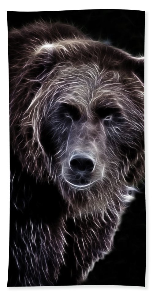 Grizzly Hand Towel featuring the photograph Mystical Bear by Athena Mckinzie