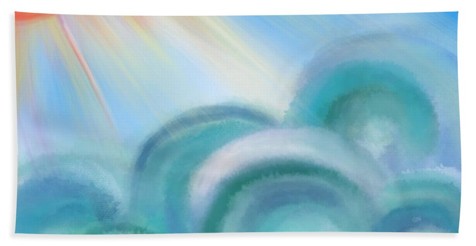Mystical Hand Towel featuring the painting Mystical Sea Squared by Christine Fournier