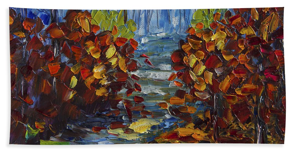 Art Hand Towel featuring the painting Mysty Morning Path by OLena Art Lena Owens
