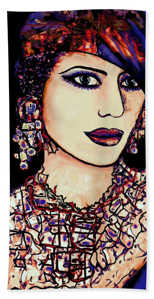 Woman Hand Towel featuring the mixed media Nadira by Natalie Holland