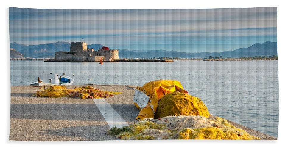 Peloponnese Bath Sheet featuring the photograph Nafplio Fishing Harbour by Milan Gonda
