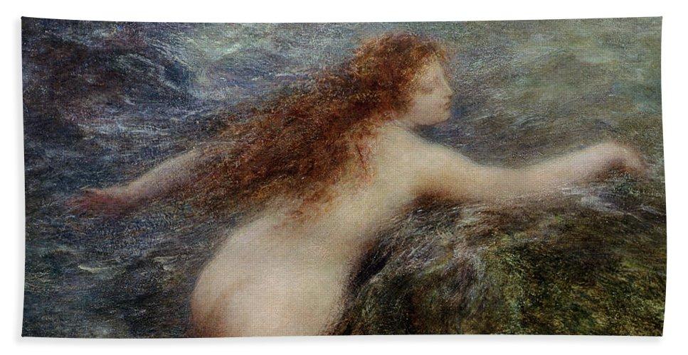 Sea Hand Towel featuring the painting Naiade by Ignace Henri Jean Fantin-Latour