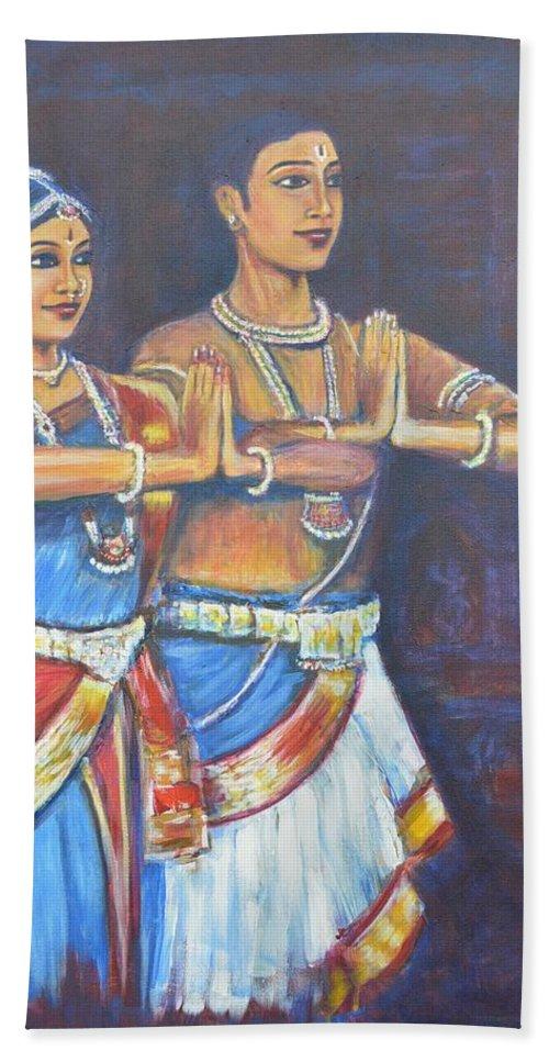Namaskaaramu Bath Sheet featuring the painting Namaskaaramu by Usha Shantharam