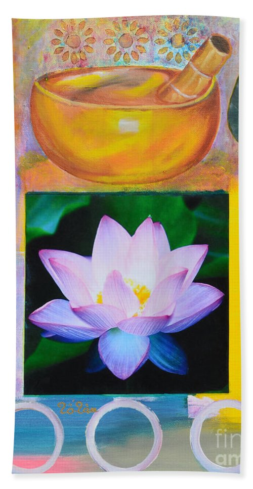 Namaste Hand Towel featuring the painting Namaste With Singing Bowl by To-Tam Gerwe