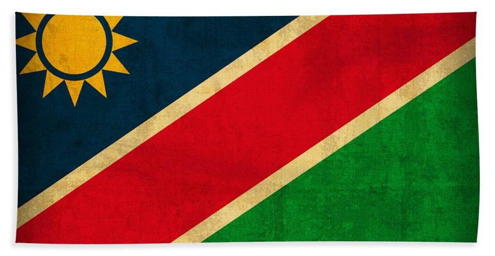 Namibia Hand Towel featuring the mixed media Namibia Flag Vintage Distressed Finish by Design Turnpike