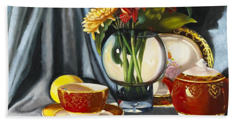 Still Life Hand Towel featuring the painting The Legacy by Marlene Book