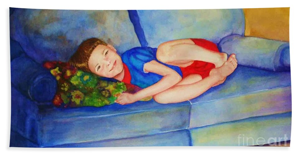 Nap Time Bath Sheet featuring the painting Nap Time by Jane Ricker