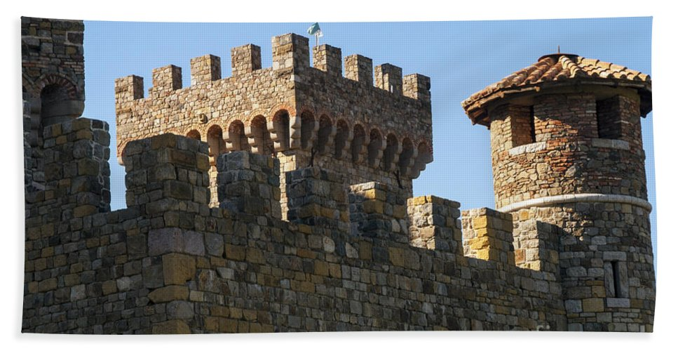 Castello Di Amorosa Winery Napa Valley California Wineries Castle Castles Building Buildings Structure Structures Architecture Hand Towel featuring the photograph Napa Valley Castle Winery by Bob Phillips