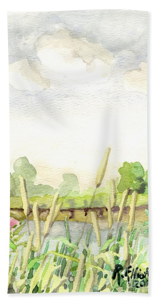 Acrylic Prints Hand Towel featuring the painting Napanee River West by John Herzog