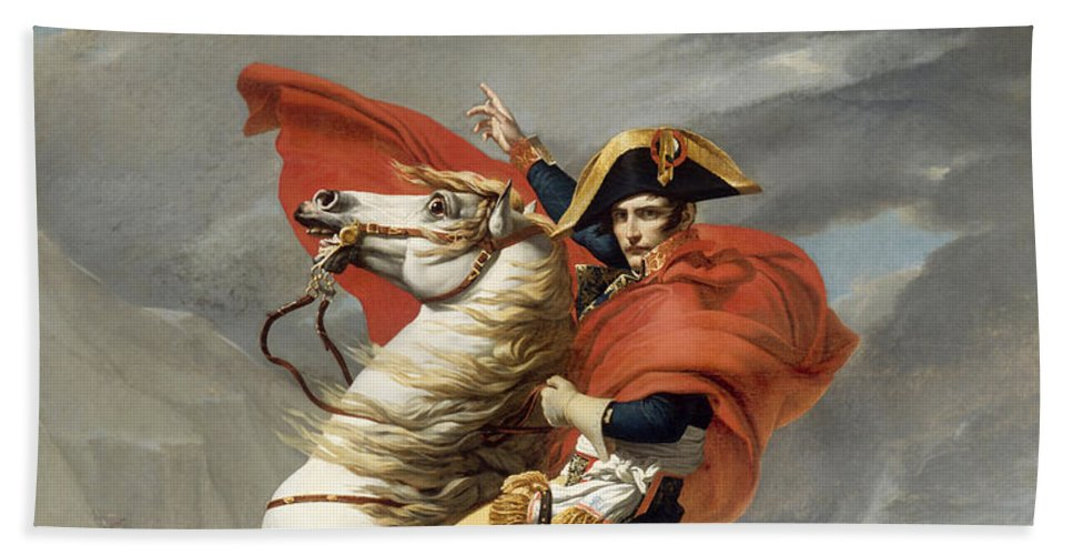 Napoleon Hand Towel featuring the painting Napoleon Bonaparte On Horseback by War Is Hell Store