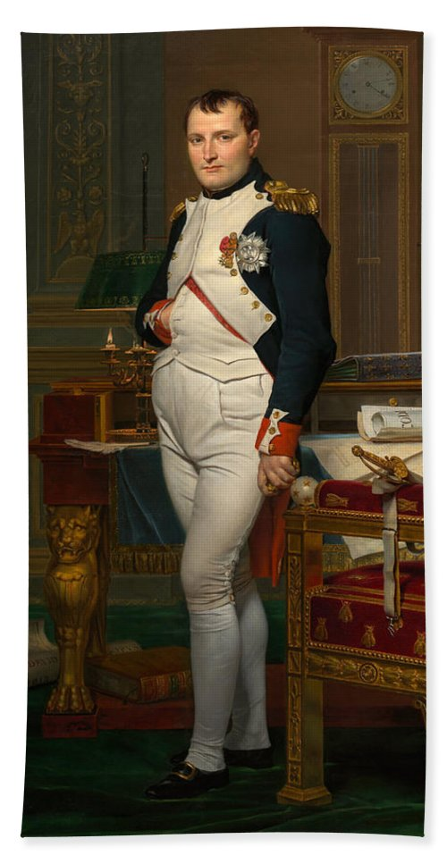 Napoleon Hand Towel featuring the painting Emperor Napoleon In His Study At The Tuileries by War Is Hell Store