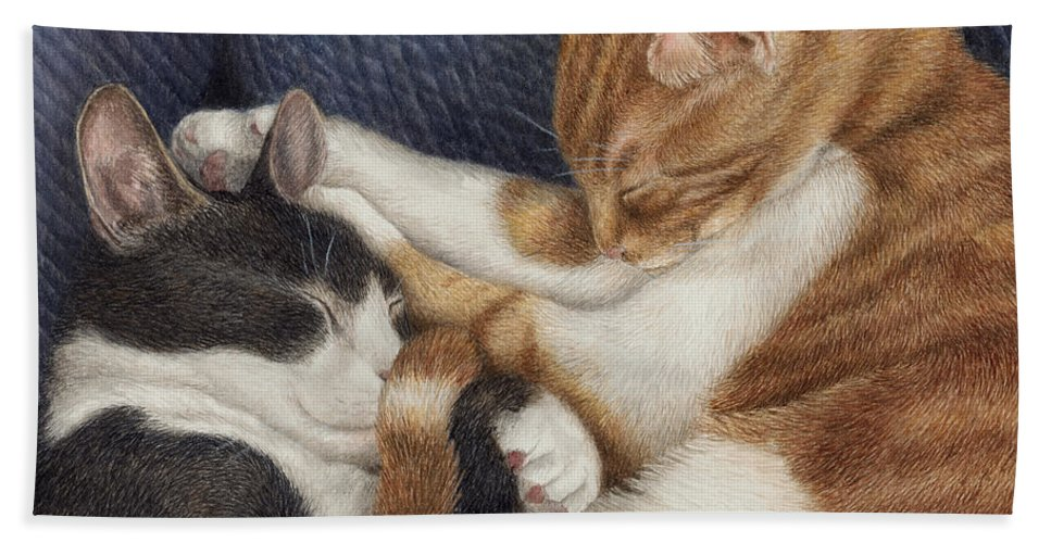 Cats Hand Towel featuring the painting Naptime by Pat Erickson