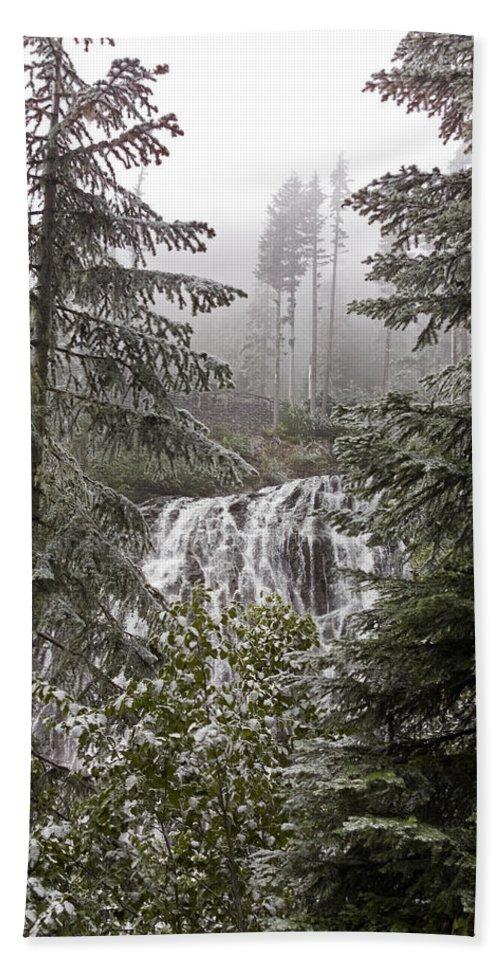 Narada Falls Hand Towel featuring the photograph Narada Fall Mt Rainier II by Greg Reed