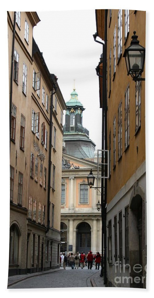 Road Hand Towel featuring the photograph Narrow Road Stockholm by Christiane Schulze Art And Photography