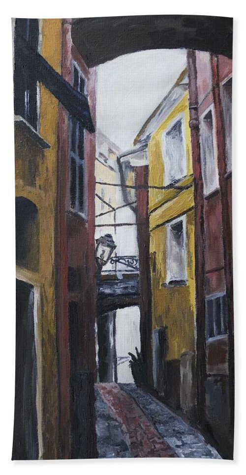 Cinque Terre Hand Towel featuring the painting Narrow Street 1 by Jennifer Viola