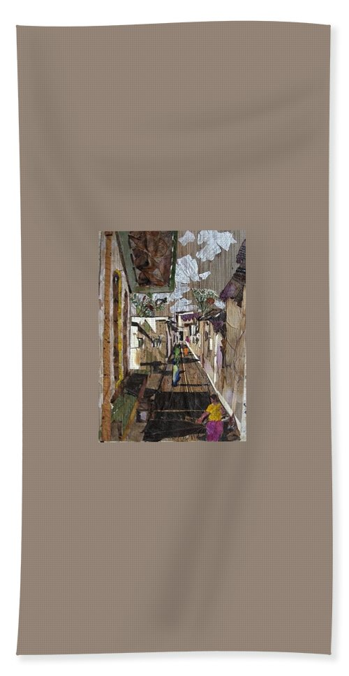 Street Scene Bath Towel featuring the mixed media Narrow Street by Basant Soni
