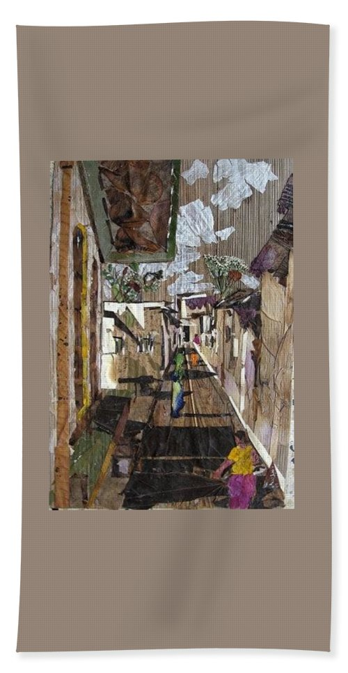 Street Scene Hand Towel featuring the mixed media Narrow street by Basant Soni