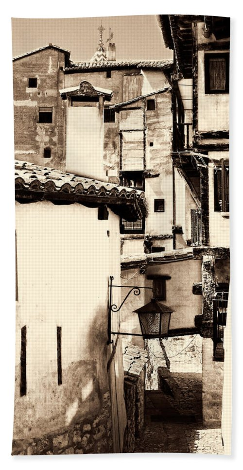 Narrow Street Hand Towel featuring the photograph Narrow Streets Of Albarracin Sepia by Weston Westmoreland