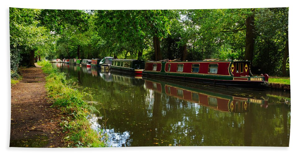 English Canal Hand Towel featuring the photograph Narrowboats Moored On The Wey Navigation In Surrey by Louise Heusinkveld
