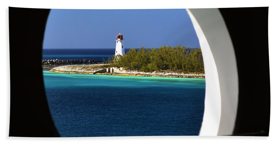 Nassau Lighthouse Hand Towel featuring the photograph Nassau Lighthouse Porthole View by Bill Swartwout Fine Art Photography