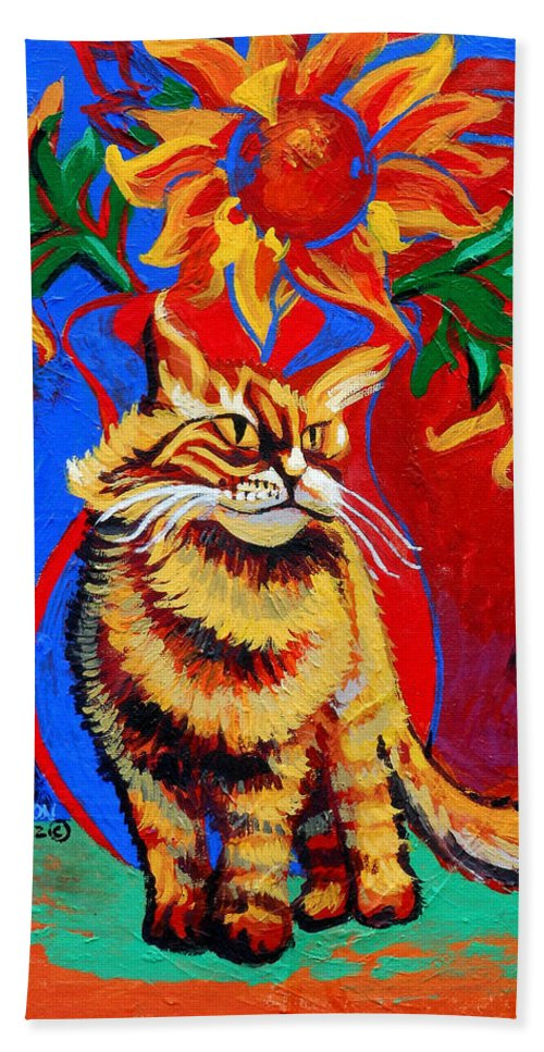 Cat Bath Sheet featuring the painting Natasha by Genevieve Esson