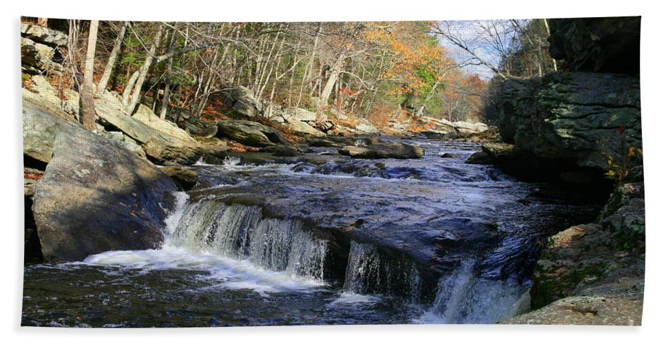 River Bath Sheet featuring the photograph Natchaug River Falls by Neal Eslinger