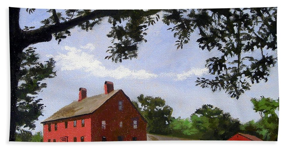 Christine Hopkins Hand Towel featuring the painting Nathan Hale Homestead Coventry Connecticut by Christine Hopkins