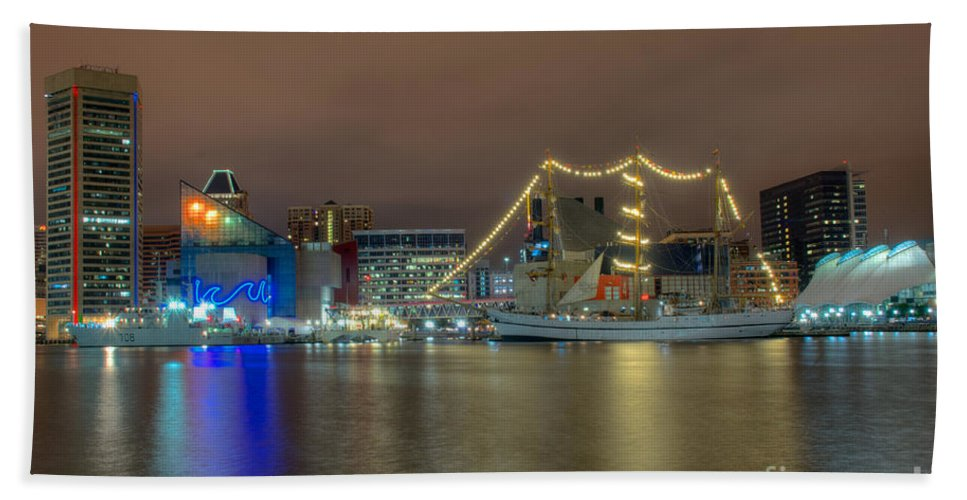 Baltimore Hand Towel featuring the photograph National Aquarium And Ships by Mark Dodd