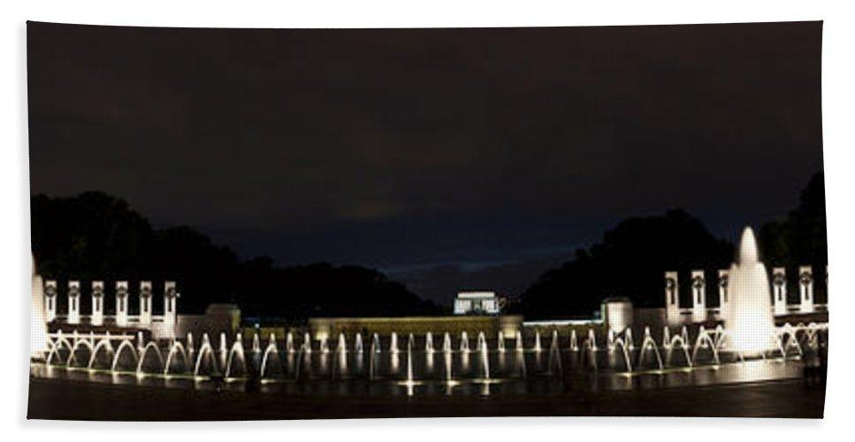 Building Bath Sheet featuring the photograph National World War II Memorial After Dark by Deborah Klubertanz