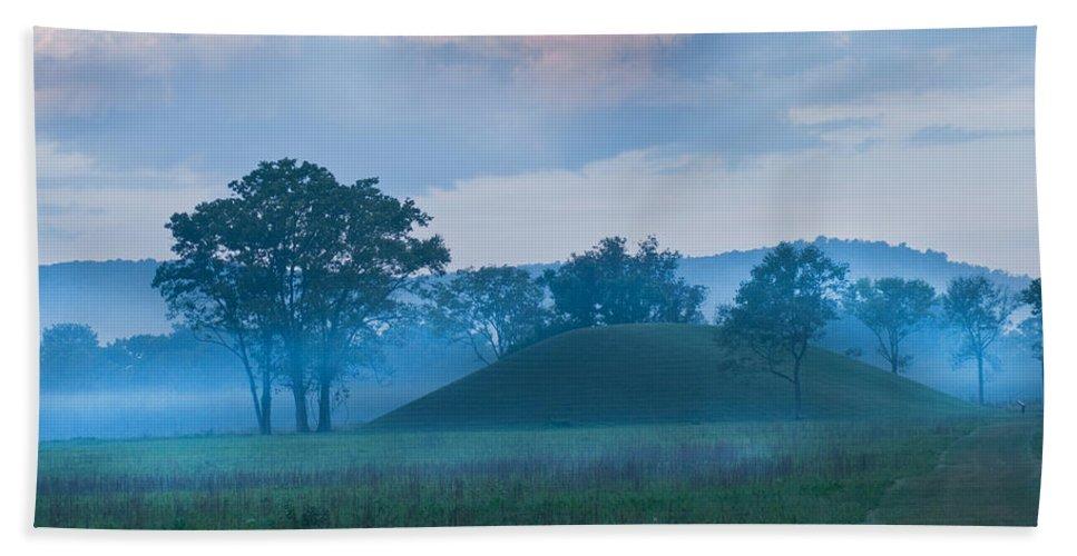 Seip Mound Bath Sheet featuring the photograph Native American Burial Ground by Randall Branham
