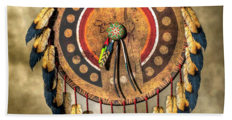Native American Shield Hand Towel featuring the digital art Native American Shield by Daniel Eskridge