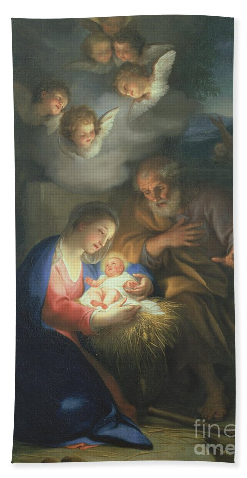 Neo-classical;angel Hand Towel featuring the painting Nativity Scene by Anton Raphael Mengs