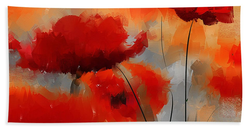 Poppies Hand Towel featuring the painting Natural Enigma by Lourry Legarde
