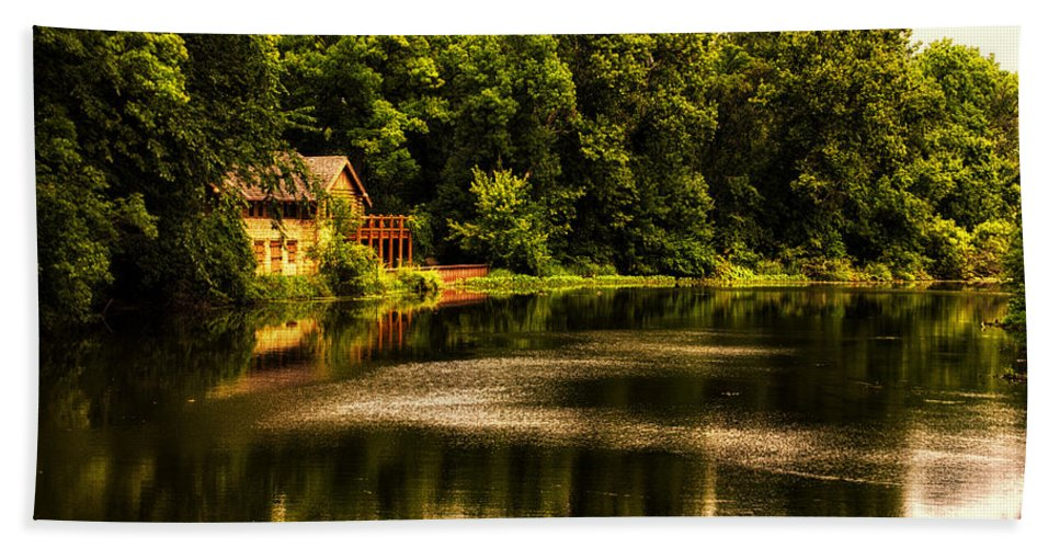 Marsh Hand Towel featuring the photograph Nature Center Salt Creek In August by Thomas Woolworth