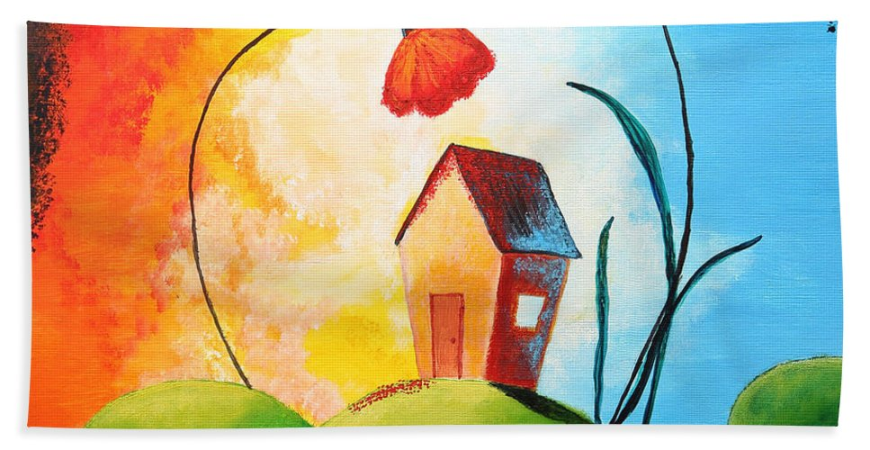 Apartment Bath Sheet featuring the painting Nature Spills Colour On My House by Nirdesha Munasinghe