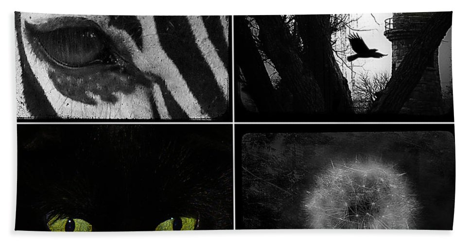 Black And White Bath Sheet featuring the photograph Nature Squares - Collage by Gothicrow Images