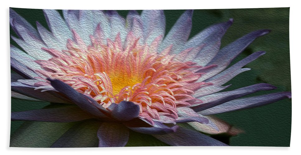 Water Lily Bath Sheet featuring the digital art Nature's Baroque by Yvonne Wright