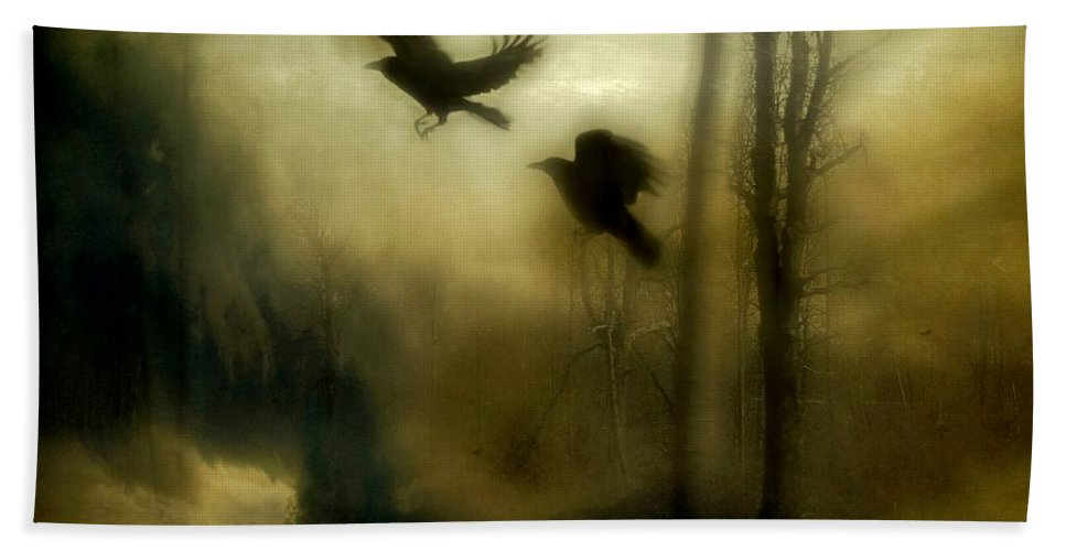 Crows Hand Towel featuring the mixed media Nature's Blur by Gothicrow Images