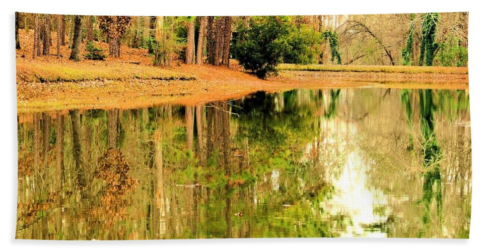 Nature's Green And Gold Hand Towel featuring the photograph Nature's Green And Gold by Maria Urso