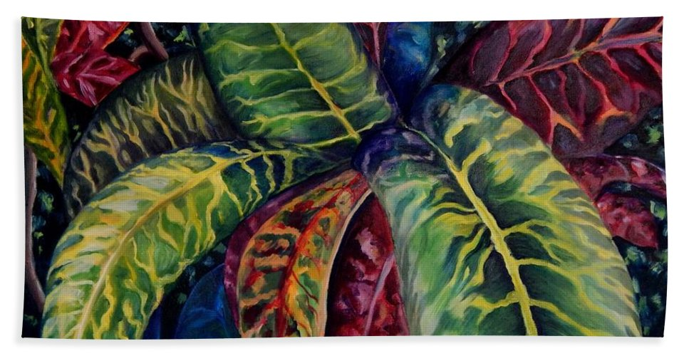 Shrubs Hand Towel featuring the painting Nature's Palette by Caroline Street