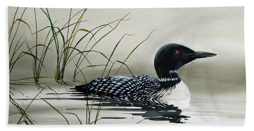 Loon Prints Bath Sheet featuring the painting Nature's Serenity by James Williamson