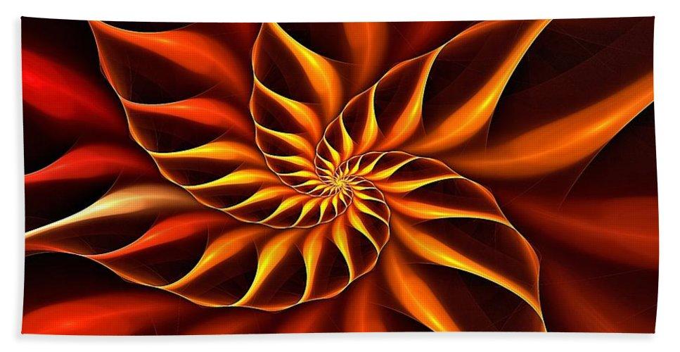 Flower Hand Towel featuring the digital art Nautilus Fractalus Fire by Doug Morgan