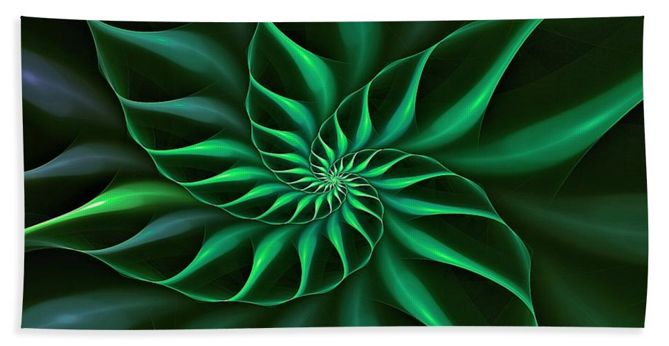 Flower Hand Towel featuring the digital art Nautilus Fractalus Verdant Green by Doug Morgan