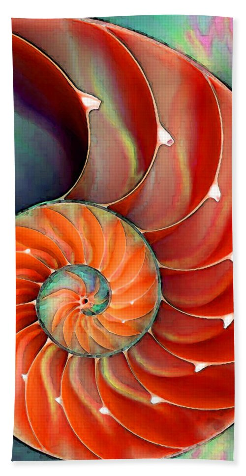 Nautilus Bath Towel featuring the painting Nautilus Shell - Nature's Perfection by Sharon Cummings