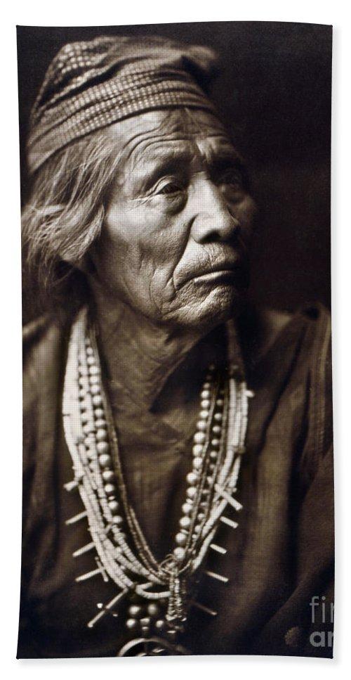 1904 Bath Sheet featuring the photograph Navajo Medicine Man, C1904 by Granger