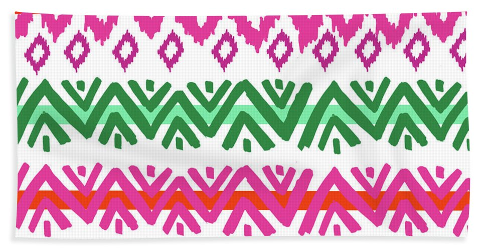 Southwest Hand Towel featuring the digital art Navajo Mission Round by Nicholas Biscardi