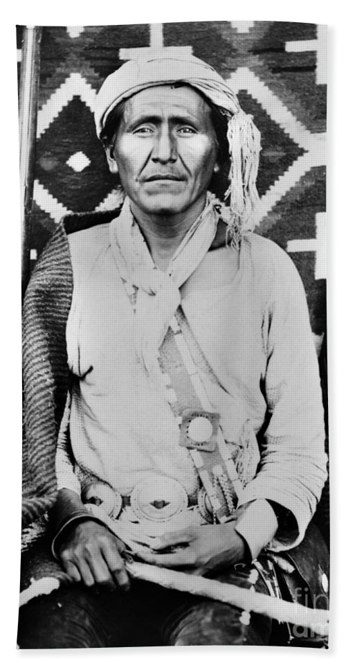 1880 Bath Sheet featuring the photograph Navajo Shaman, C1880 by Granger
