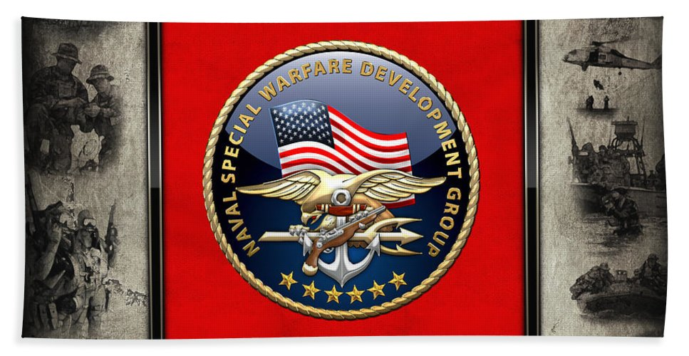 'military Insignia & Heraldry - Nswc' Collection By Serge Averbukh Bath Sheet featuring the digital art Naval Special Warfare Development Group - D E V G R U - Emblem Over Navy S E A Ls Collage by Serge Averbukh